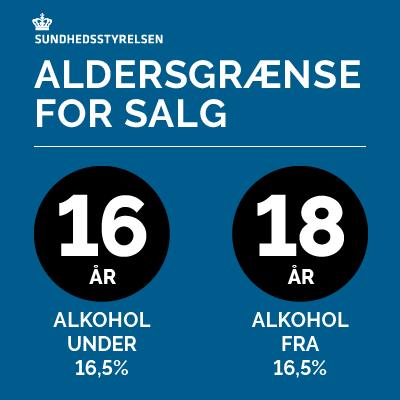 Skiltning om salg af alkohol